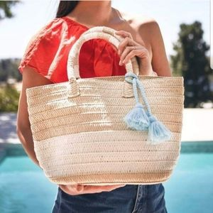 Altru straw weaved wicker bag with blue tassel